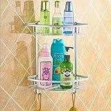 BATHAE Raum-Aluminium Badezimmer Regal, Dreieck Doppel Regal, Badezimmer Eckzarge, Badezimmer-Rack