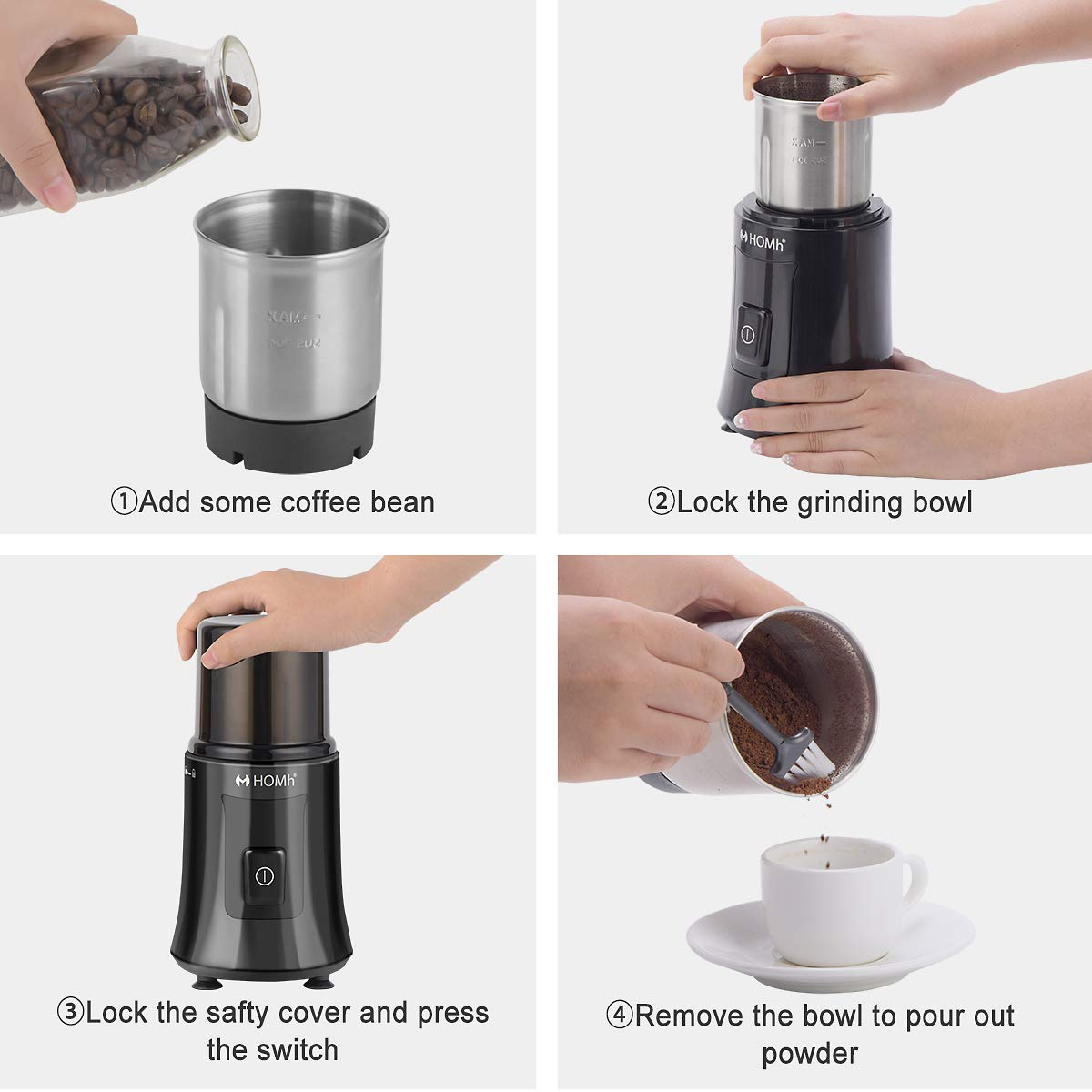 HOMh-Coffee-Grinder-200W-120g-Capacity-Removable-Bowl-with-Stainless-Steel-Blade-Electric-Grinder-for-Coffee-Bean-Spice-Seed-Nut-Herb-Pepper