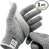Paire de gants anti coupures Twinzee® - Protection de niveau 5 conforme à la norme EN 388 - Qualité alimentaire pour utilisation dans votre cuisine (Medium)
