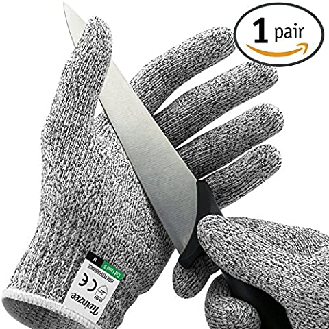 Twinzee Cut Resistant Kitchen Gloves - High Performance Level 5 Protection, Food Grade, EN 388 Certified, 1 pair (Medium)