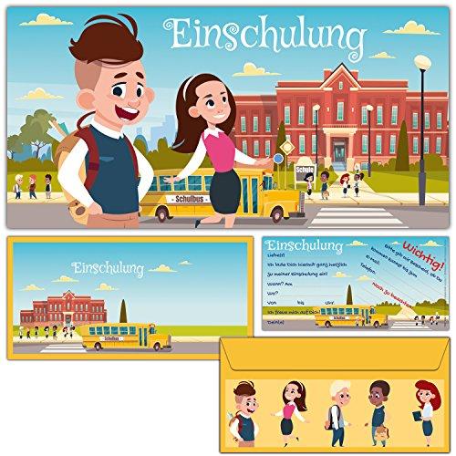 12er Karten-Set EINSCHULUNG Einladungskarten inklusive Umschläge - Einladungen zum Schulanfang Schulbeginn Schuleingang für Kinder von BREITENWERK®