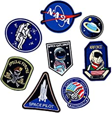 iDream Iron on Patches NASA Style Embroidery Applique Decoration for Clothes L2-S26 (Pack of 8)