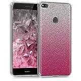 kwmobile Funda para Huawei P8 Lite (2017) - Carcasa de [TPU] para móvil y diseño Degradado de Purpurina en [Rosa Fucsia Plata Transparente]