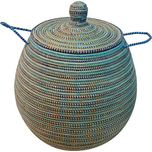 EA Déco Naturel & Design AB1TBLE Corbeille Doum G.M Plastique, Tricolore Bleu, 70 x 50 x 70 cm