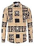 PIZOFF Herren Barock Langarm Hemden - mit mordenem Druck Y1792-D2-M