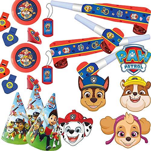 Neu 2019: 42-TLG. Mitgebsel- und Spiele-Set * PAW Patrol 2 * für Kindergeburtstag mit Masken + Hütchen + Blow-Outs + diverses Mitgebsel | Kinder Geburtstag Set | Hunde Mottoparty mit Ryder & Pfoten (Kinder Für Feuerwehr-maske)