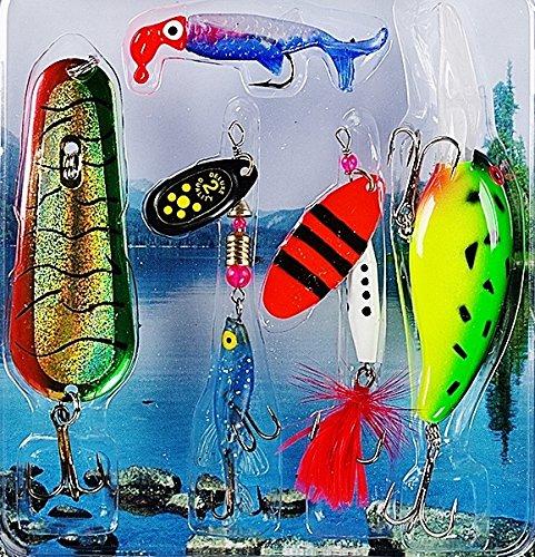 Fladen-Set di 5e Lago Costa Plug 6G a 22g All Round-Confezione esche esche, esche morbide, Spinners e cucchiai, per Pike e Bass [16-7071]