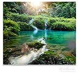 Wallario Herdabdeckplatte / Spitzschutz aus Glas, 1-teilig, 60x52cm, für Ceran- und Induktionsherde, Türkisgrüner See im Nationalpark in Guatemala