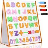 TTMOW Pizarra Blanca Magnética Escritorio Portable Plegable Doble Cara para Niños con 26 Letras, 10 Números, 5 Símbolos Matem