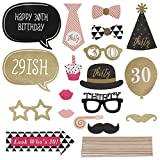 MultiWare 20pcs 30th Birthday Pink Black Gold Photo Booth Props Kit Favour Moustache