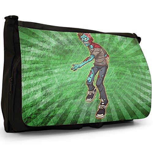 Zombie Living Walking Famiglia Dead–Borsa Tracolla Tela Nera Grande Scuola/Borsa Per Laptop One Arm Zombie Broken Skull