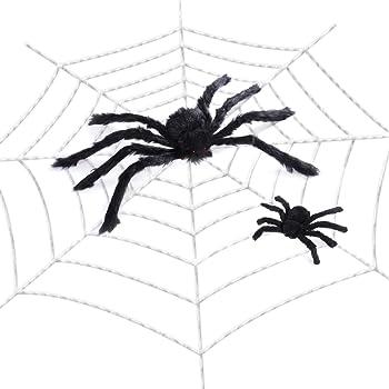 Amosfun Ragnatela Gigante Con Ragni Decorazioni Ragnatele di Halloween  Decorazioni Per Interni Infestate da Esterno ( 40b6b7550a7c