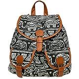 CASPAR TS1038 Damen Stoff City Rucksack mit Elefanten Print, Farbe:schwarz;Größe:One Size