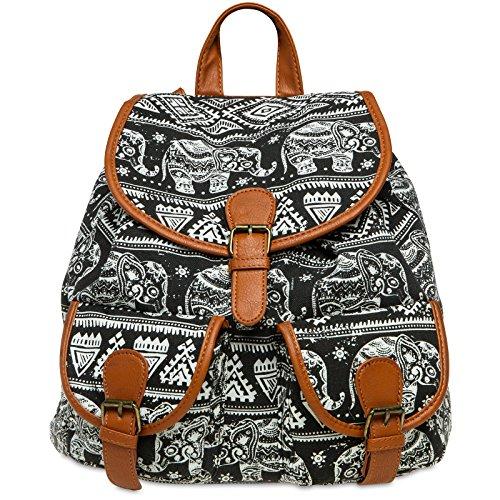 Stoff Handtasche Muster (CASPAR TS1038 Damen Stoff City Rucksack mit Elefanten Print, Farbe:schwarz;Größe:One Size)