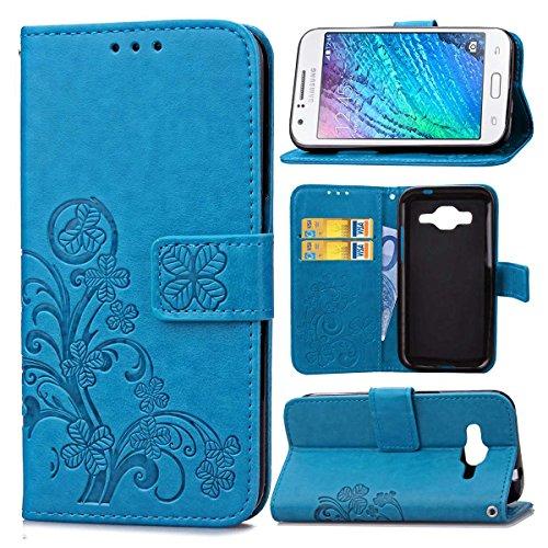 Guran Custodia in Pu Pelle Lucky Clover Flip Cover per Samsung Galaxy J1 Ace (J110H, 4') Smartphone Avere Portafoglio e Funzione Stent Modello di Trifoglio Fortunato Copertura Protettiva - Blu