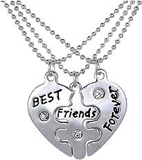 Aaishwarya Silver Best Friends Forever Chain Pendants (Set of 3) for Women/Girls & Men/Boys