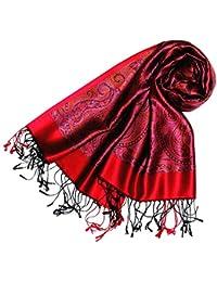 68117ff221a8 Lorenzo Cana Pashmina pour la femme - écharpe de 100% soie avec les mesures  de 55 x 180 cm - fait à la main –…