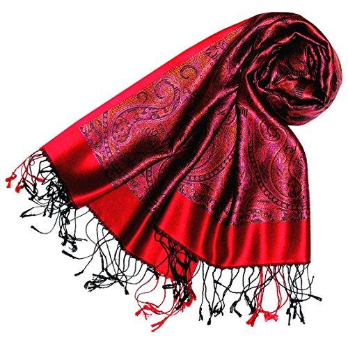 Lorenzo Cana Luxus Pashmina Schal Schaltuch jacquard gewebt 100% Seide 55 x 180 cm Paisley Muster Seidenschal Seidentuch Seidenpashmina harmonische Farben