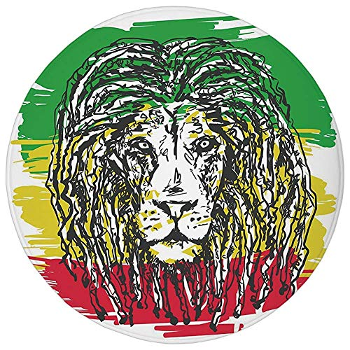 Round Rug Mat Carpet,Rasta,Ethiopian African Culture Hair Style Lion Head Portrait Grunge Backdrop Decorative,Green Yellow and Red,Flannel Microfiber Non-slip Soft Absorbent,for Kitchen Floor ()