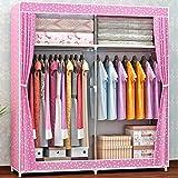 N&B Portable kleiderschrank, Kleiderschrank Schrank, Schlafzimmer Schrank,Lagerung-Organizer mit Türen,Geräumiger & Robust-E 168x130x46cm(66x51x18)