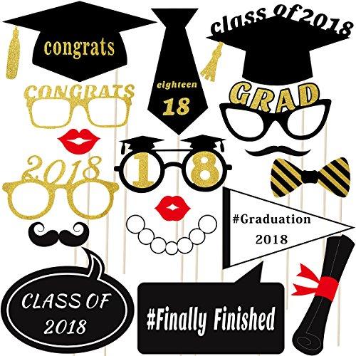 to Booth Props 2018 Glitter Foto Requisiten Kit Graduation Party Dekoration Party Favors KEINE DIY ERFORDERLICH, Pack von 18 (Photo Booth-requisiten Für Die Graduierung)