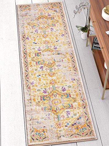 Well Woven Vintage Heriz Blumen Medaillon Traditionellen Multi Farbe Beige Fuchsia Orange Gelb Bereich Teppich, Polyester, Multi, 2'3