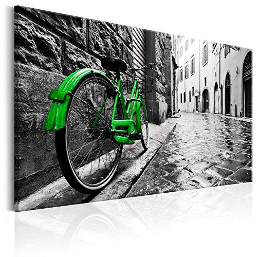 Cuadro en Lienzo 120x80 cm - 3 tres colores a elegir - 1 parte - Impresion en calidad fotografica - Cuadro en lienzo tejido-no tejido - Vintage Bicicleta d-B-0080-b-d 120x80 cm B&D XXL