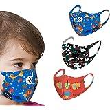 Liloee 3Pcs Kids Boys Girl Cotton Washable Adjustable Filter Cartoon Mask