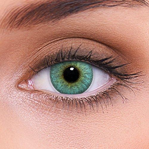 """Stark deckende natürliche blaue Kontaktlinsen farbig \""""Crystal Blue\"""" + Behälter von LENZOTICA I 1 Paar (2 Stück) I DIA 14.00 I mit Stärke I -2.50 Dioptrien"""