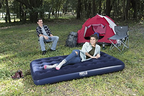 Bestway Comfort Quest Flocked Double Air Bed – 75 x 54 x 8.5 Inches, Blue