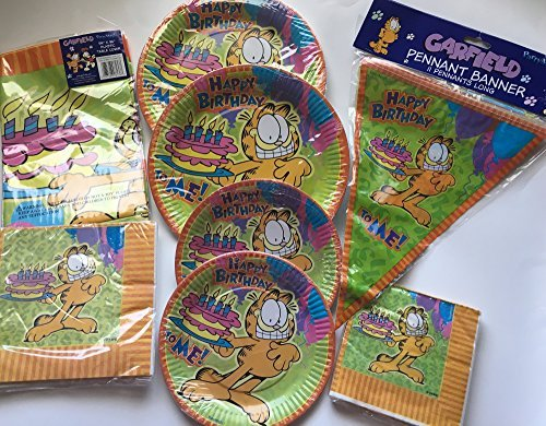 Garfield Birthday Party Bundle for Party of 16 Includes Plates Napkins Table Cover Banner