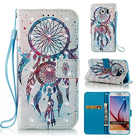Ecoway Samsung Galaxy S6 Case 3D painting leather case PU leather case (Couple bell chimes (white)), Samsung Galaxy S6 protective cover phone bracket function card slot & removable hand strap design-Couple bell chimes
