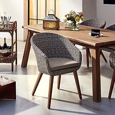 PureDay Gartenstuhl Mira - Rattanstuhl mit Sitzkissen - Polyrattan - Grau von PureDay auf Gartenmöbel von Du und Dein Garten
