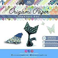 Set de papel origami - 120 hojas - papel para plegar tradicional japonés incluyendo papel floral, estampado de animal, azteca, geométrico - Crea flores, grulla, búho, dragón, animales - Papel origami para niños y adultos