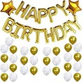 #8: Theme My Party Happy Birthday Foil, Two Gold Star Foil & Gold White Latex Balloons for Birthday Decoration