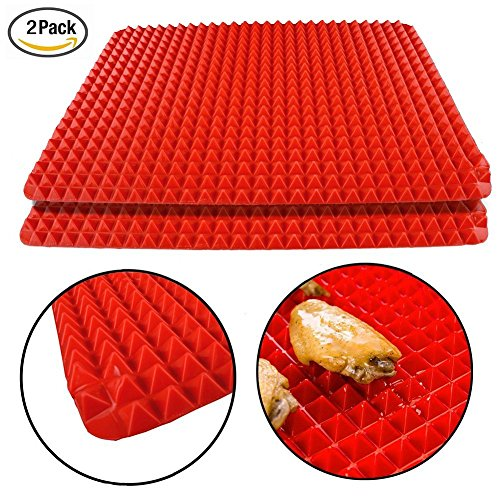 "Silicone Healthy Cooking Baking Mat Non-stick, Red 1 Piece - Silicone Baking Mat - (Large 15.74"" *11.33"") - Non Stick Silicon Liner for Bake Pans & Rolling - Macaron/Pastry/Cookie/Bun/Bread Making - Professional Grade Nonstick (2pcs Set)"