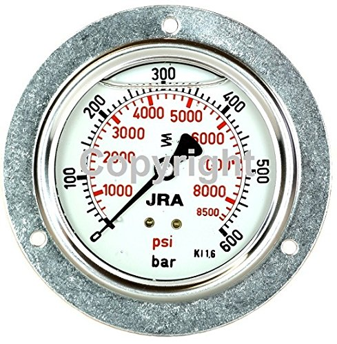 600 Psi Manometer (JRA-Longlife-Glyzerin-Manometer 0-600 bar/psi NG63 Anschluss hinten G1/4