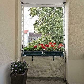 ALLEGRA Katzennetz für Balkon oder Fenster, Katzenschutznetz mit Halterung, Set mit Netz + 2X Teleskopstange ohne Bohren zum Klemmen (2m-3,75m + Netz Geknotet Schwarz 6x2m)
