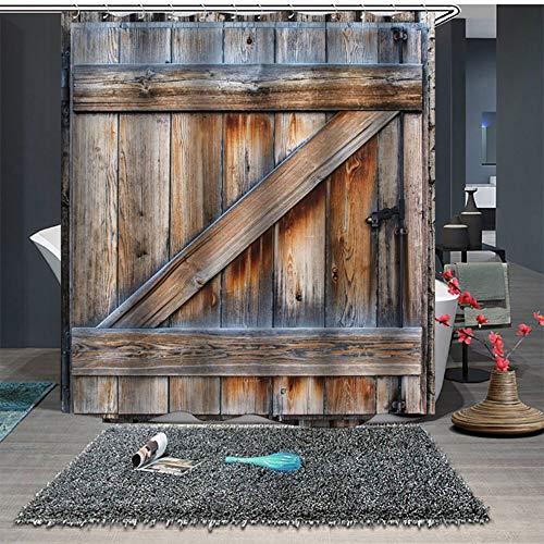 bathroom home Duschvorhang,wasserdichter Vorhang mit verstärktem Saum, waschbarer Badewannenvorhang aus Polyester Schimmelresistenter,Holzfarbe 3D aus Holz in Holzoptik 3D mit Haken 1.8 * 2.0M (Klammern Jalousien Holz)