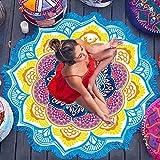 Rundes Strandtuch zum Sonnenbaden, tragbare Picknickdecke, Yoga-Matte im indischen Big Lotus-Stil, Tischdecke, Sporttuch, Quasten-Badetuch, blau-gelb, 150 * 150 cm