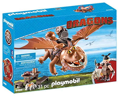 Cómo entrenar a tu Dragón- Fishlegs and Meatlug Barrilete y Patapez, (Playmobil 9460)
