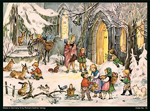 Large Advent Calendar 24 doors 355 x 260 mm 3 wise men nativity RS759 traditional antique German Design with glitter and translucent windows bible verses behind doors