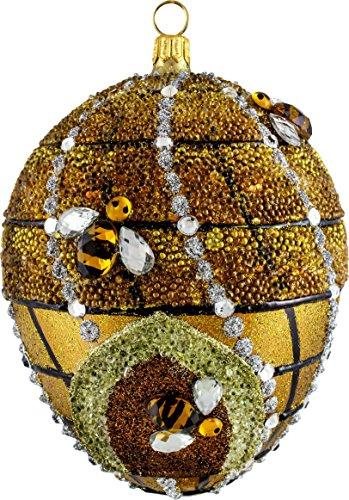 Joy to the World Glitterazzi Beehive Jeweled Egg Polish Glass Christmas Tree Ornament Bee Poland -