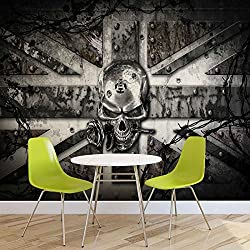Alchemy Skull Union Jack Tattoo - Photo Wallpaper - Wall Mural - EasyInstall Paper - Giant Wall Poster - XXXL - 416cm x 254cm - EasyInstall Paper - 4 Pieces