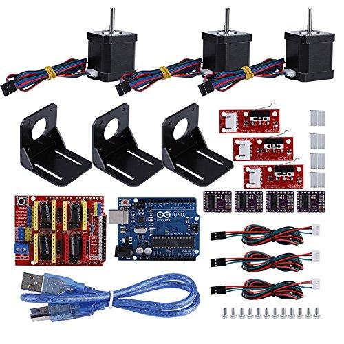 Richer-R Professionelle 3D Drucker CNC Modul Kit, CNC Shield+UNO R3 Board+DRV8825 Stepper Motor+4pcs Aluminiumkühler mit 3X Nema 17 Schrittmotor Set für Kuman UNO R3 und Arduino