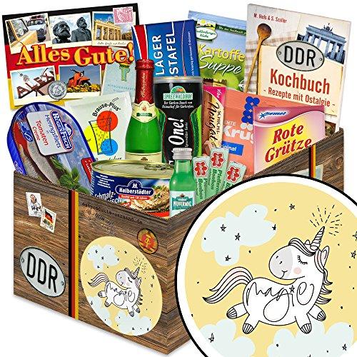 Einhorn | Geschenkset DDR | DDR Spezialitäten-Box mit Halloren, Wikana und Rotstern und vielem mehr (Lebensmittel-geschenk-körbe Prime)