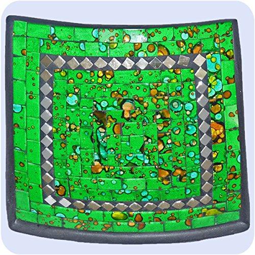 Plat mosaïque de verre bol d'argile, assiette fait main en Bali artisanat décoration de la maison Multicolore -miroir carré- 15x4 cm Color vert
