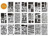 BLISSANY Schablonen Set - 20 Stück, Zeichenschablone/Schablonen zum Zeichnen, für Bullet Journal, Scrapbooking/Scrapbook, DIY, viele Verschiedene Designs - Buchstaben, Zahlen, Muster - aus Kunststoff