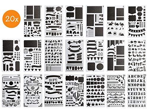BLISSANY Schablonen Set - 20 Stück, Zeichenschablone/Schablonen zum Zeichnen, für Bullet Journal, Scrapbooking/Scrapbook, DIY, viele Verschiedene Designs - Buchstaben, Zahlen, Muster - aus Kunststoff -