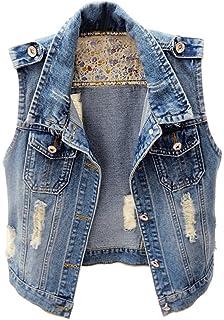 22b761e8057720 CYSTYLE 2018 Damen Loch BF Stil Ausfransen Weste Jacke Ärmellos Einfache Beiläufige  Jeansweste